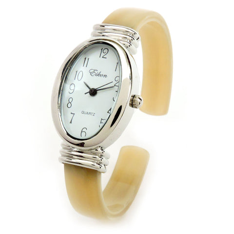 Horn Silver Ivory Acrylic Band Silver Oval Face Women's Bangle Cuff Watch