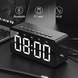 Alarm Clock, Bluetooth Wireless Speaker, Adjustable Brightness LED Time Display, Silk Finish Case - Nightstand Clock