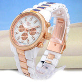 Rose Gold White Pearl Bracelet Women's Quartz Watch