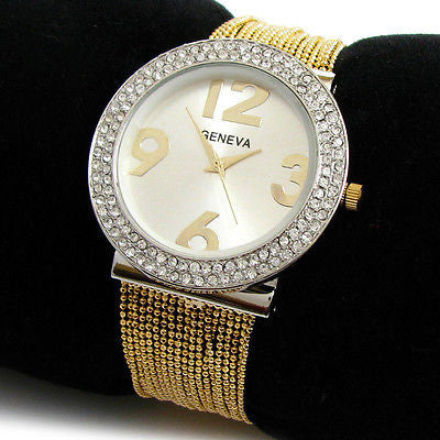 2Tone Crystal Multi Chain Strands Bracelet Jewelry Women's Quartz Watch