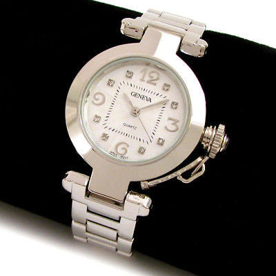 Silver Crystal Cabochon Crown Cover Geneva Women's Bracelet Quartz Watch