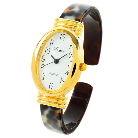 Leopard Gold Acrylic Band Oval Face Women's Eikon Bangle Cuff WATCH