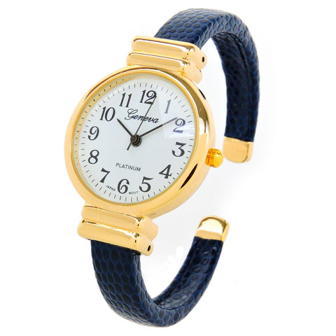 Navy Blue Gold Snake Style Band Slim Case Geneva Women's Bangle Cuff Watch