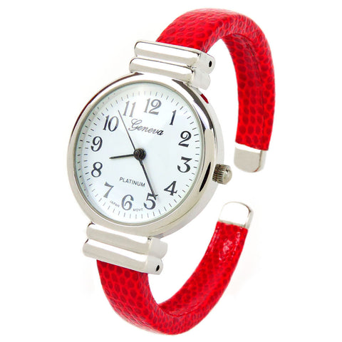 Red Snake Style Band Slim Case Geneva Women's Bangle Cuff Watch