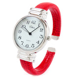 Red Snake Style Band Slim Case Women's Bangle Cuff Watch