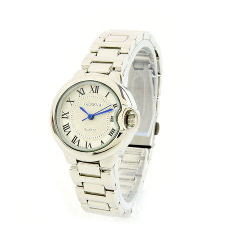 Clearance Sale - Silver Small Case Classic Roman Dial Women's Geneva Watch
