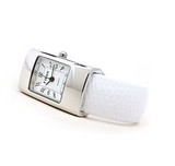 Clearance Sale - White Silver Snake Style Band Rectangle Case Women's Bangle Cuff Watch