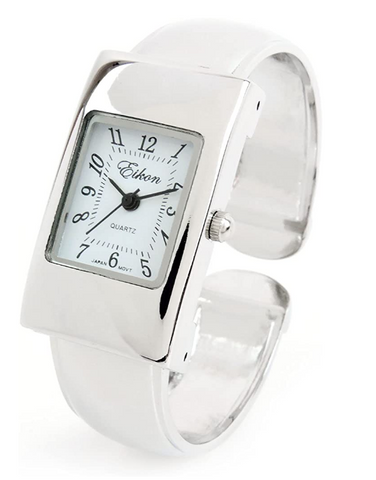 Clearance Sale -  Silver Snake Style Band Rectangle Case Women's Bangle Cuff Watch