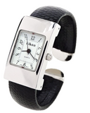 Clearance Sale -  Black Silver Snake Style Band Rectangle Case Women's Bangle Cuff Watch