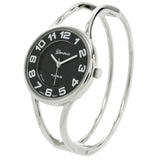 Silver Black Round Face Metal Double Band Fashion Women's Bangle Cuff Watch