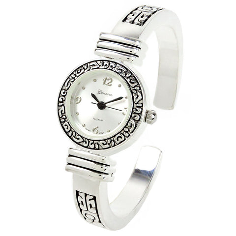 Silver Western Style Decorated Bangle Cuff Watch for Women