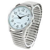 Silver Large Face Easy to Read Stretch Band Watch