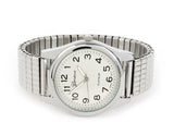 Silver Large Face Easy to Read Geneva Stretch Band Watch