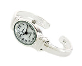 Silver Small Size Oval Face Metal Band Geneva Women's Bangle Cuff Watch