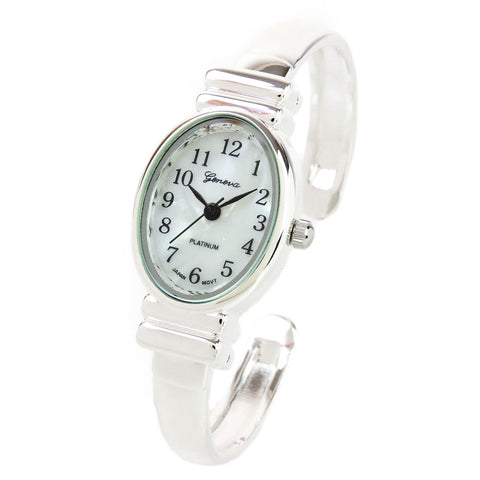 Clearance Sale - Silver Small Size Oval Face Metal Band Geneva Women's Bangle Cuff Watch