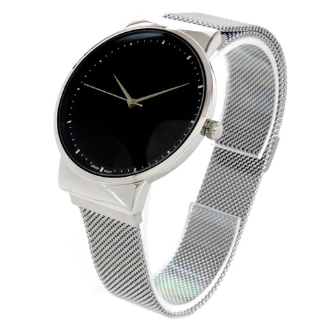Silver Black, Mesh Band Milanese Loop Magnetic Closure Men Women Watch 35mm