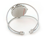 Silver Elegant Dual Cable Band Bracelet Women's Bangle Cuff Watch