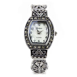Silver Black Vintage Style Marcasite Rectangle Face Bangle Cuff Watch for Women
