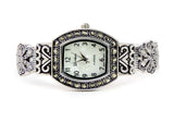 Clearance Sale - Silver Black Vintage Style Marcasite Rectangle Face Bangle Cuff Watch for Women