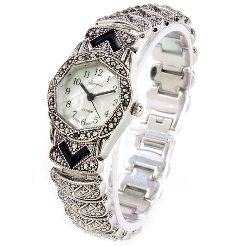 Marcasite Silver Black Vintage Style Bracelet Watch for Women