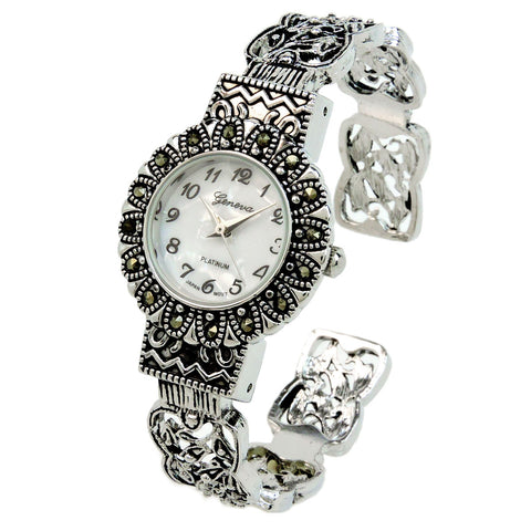Silver Black Vintage Style Marcasite Round Face Bangle Cuff Watch for Women