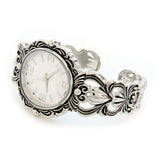 Silver Metal Decorated Large Oval Face Women's Bangle Cuff Watch