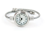 Silver Cable Band Mother of Pearl Dial Small Size Women's Bangle Cuff Watch