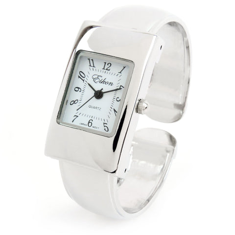 Silver Small Size Rectangle Case Easy to Read Women's Bangle Cuff Watch