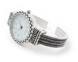 Silver Metal Western Style Round Face Decorated Women's Bangle Cuff Watch