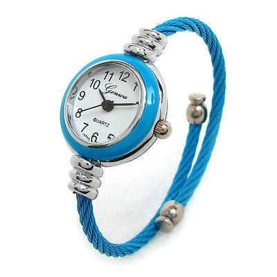 Geneva Cable Band Women's Small Size Bangle Cuff Watch