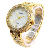 Gold Geneva Bold Case Rhinestones Bezel Bracelet Women's Quartz Watch