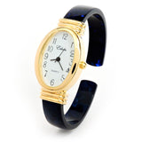 Tortoise Blue Acrylic Band with Gold Oval Case Women's Bangle Cuff WATCH