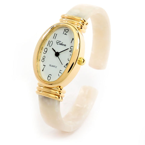 White Tortoise Gold Acrylic Band Oval Face Women's Eikon Bangle Cuff WATCH