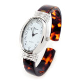 Tortoise Gold Acrylic Band Oval Face Women's Eikon Bangle Cuff WATCH