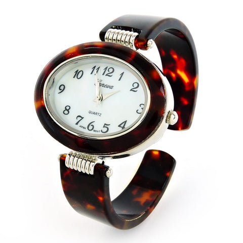 Clearance Sale -  Tortoise Silver Acrylic Band Women's Bangle Cuff Watch