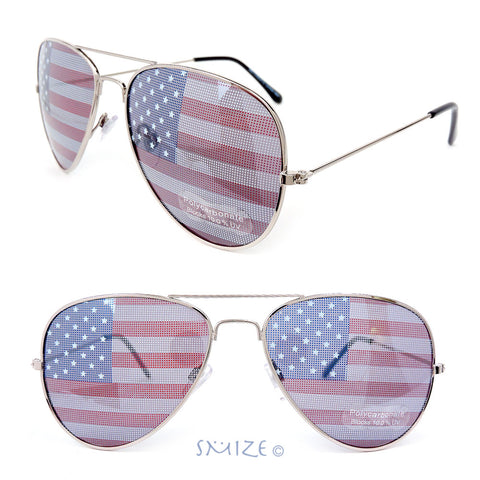 4th of July American Flag Lenses Aviator Silver Metal Frame Sunglasses