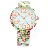 White Roses Floral Print Large Face Easy to Read Stretch Band Extension Women's Watch