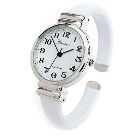 White Snake Style Band Slim Case Women's Bangle Cuff Watch
