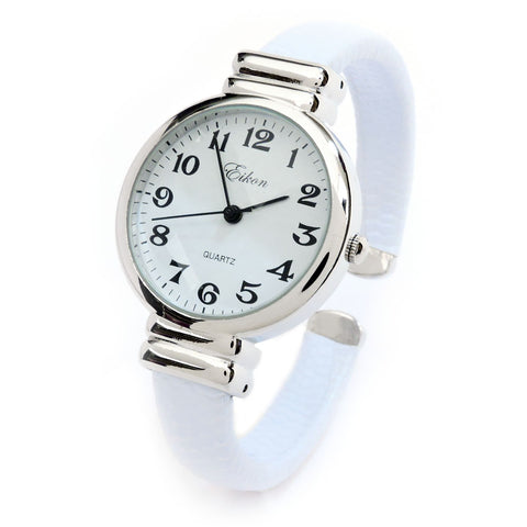 Clearance Sale - White Snake Style Band Slim Case Women's Bangle Cuff Watch