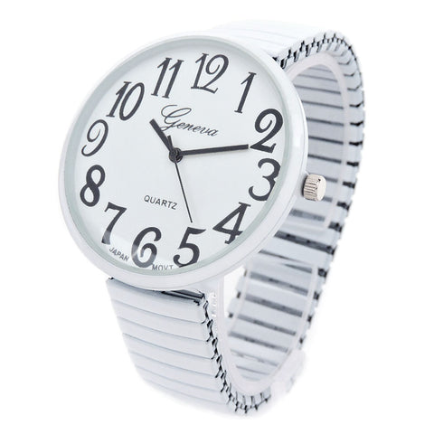 White Super Large Face Easy to Read Stretch Band Geneva Watch