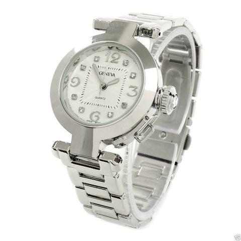 Clearance - Silver Crystal Cabochon Crown Cover Geneva Women's Bracelet Quartz Watch