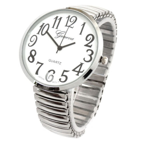CLEARANCE SALE - Super Large Face Stretch Band Silver Watch