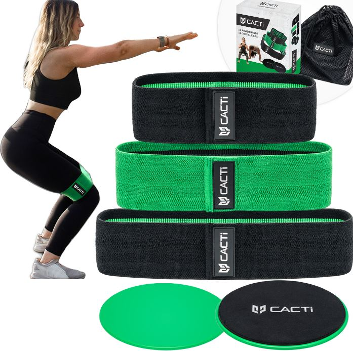 Fabric Resistance Bands & Core Sliders Booty Exercise Set