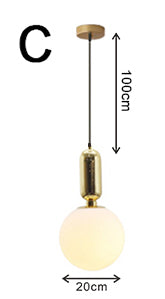 Hoop glass bulb pendant light fixture brass