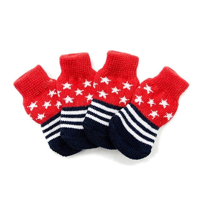 Pet Cute Non-skid Knitted Cotton Socks For Small And Medium Dogs