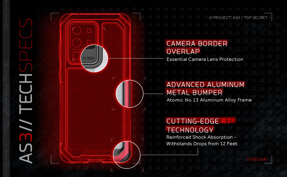 Galaxy S20 Ultra Protective Phone Cover with Clear Shockproof Design and Military Grade Metal Bumper