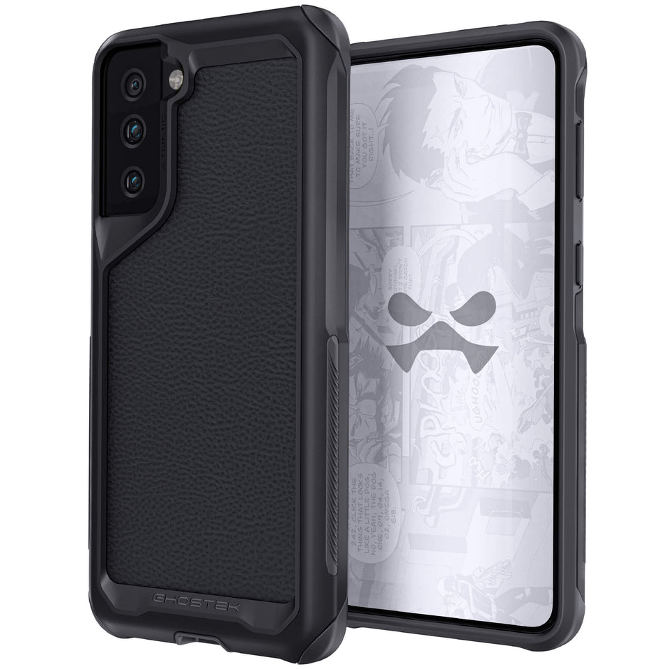 Galaxy S21 Plus Leather Phantom Black Metal Case