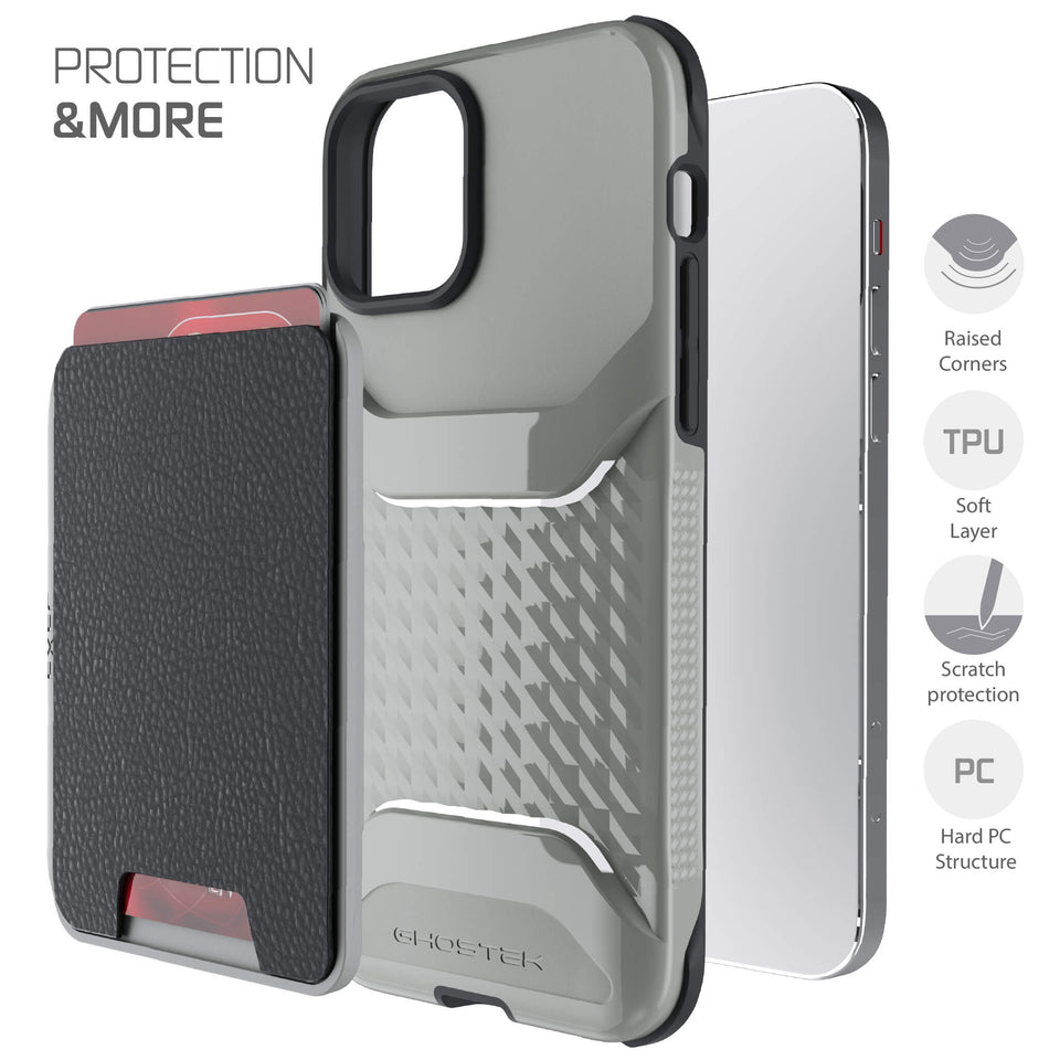 iPhone 12 Pro Gray Magnetic Wallet Cases