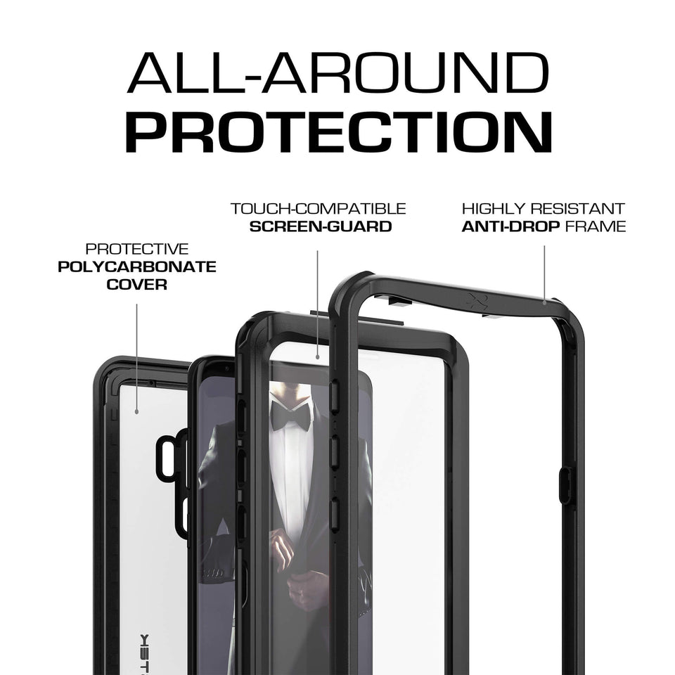 Galaxy S9 Plus Black Waterproof Case