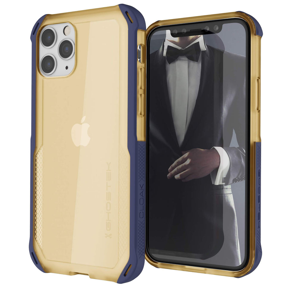 iPhone 11 Pro Max Clear Blue Gold Phone Case